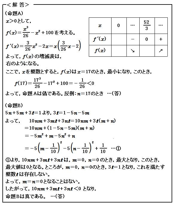 2015 東京大学 文系 第1問 命題と論証 解答