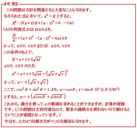 東大 例題9 2次方程式 考察