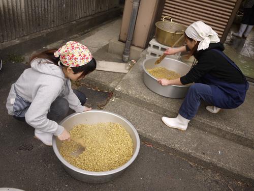 味噌づくり2015-4日目大豆を冷ます