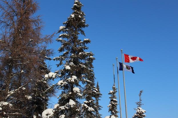 2015カナダ:0210イエローナイフ 州議事堂 旗