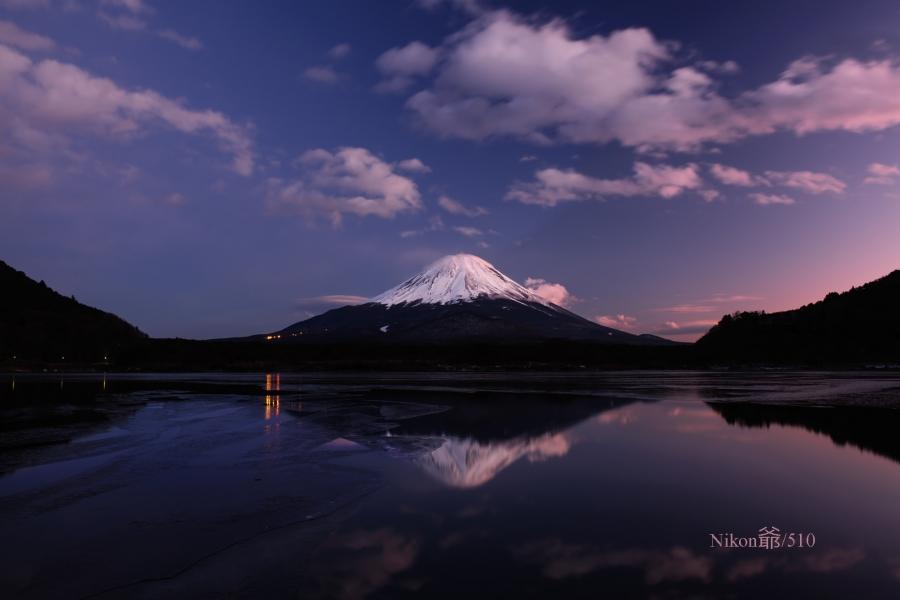 精進湖の夕景s