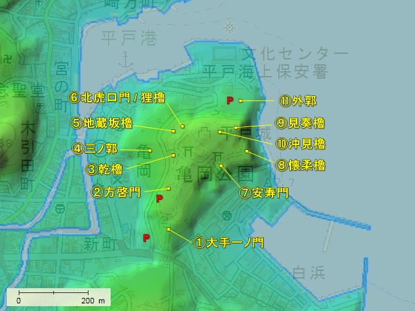 平戸城地形図