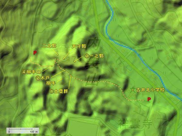 直谷城地形図
