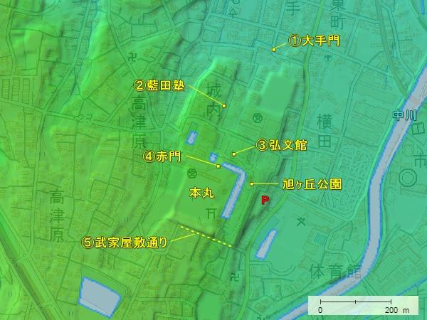 鹿島城地形図