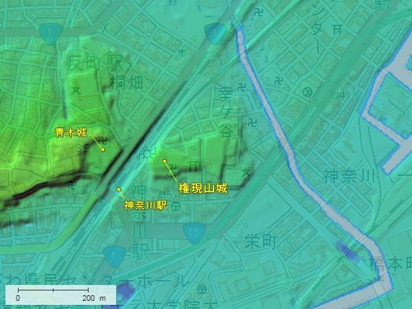 権現山城地形図
