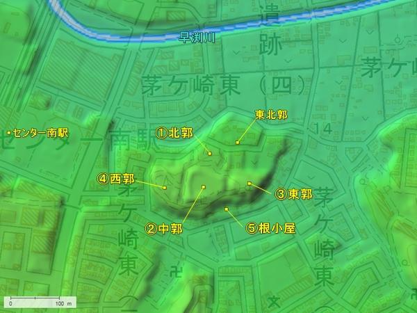 茅ヶ崎城地形図