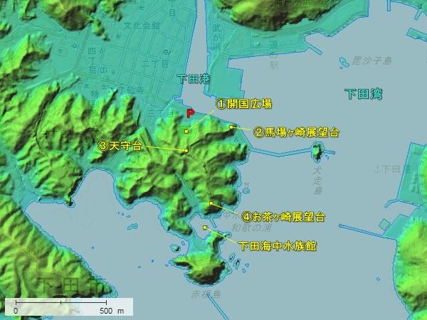 下田城地形図