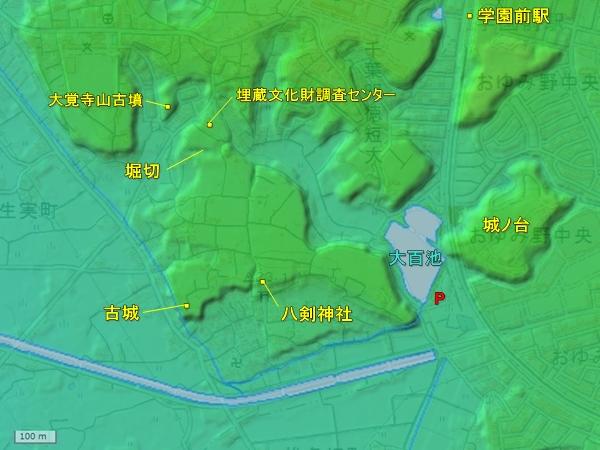 小弓城地形図