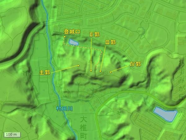 大椎城地形図