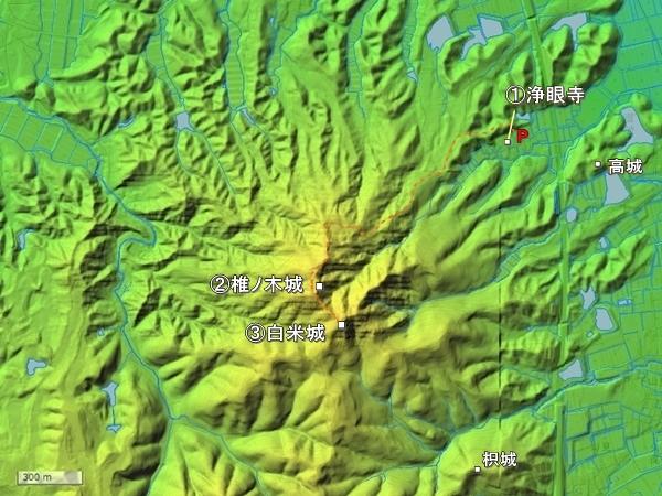 阿坂城地形図