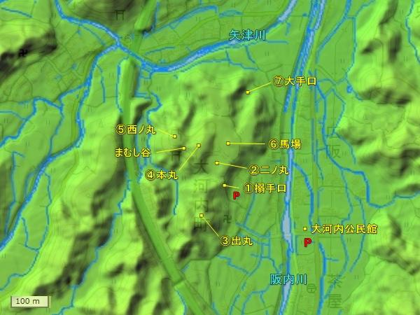 大河内城地形図