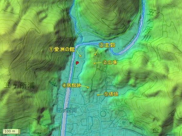五ヶ所城地形図