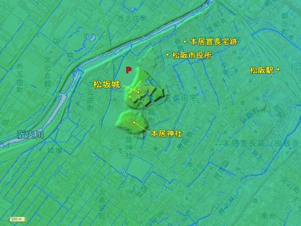 松坂城地形図