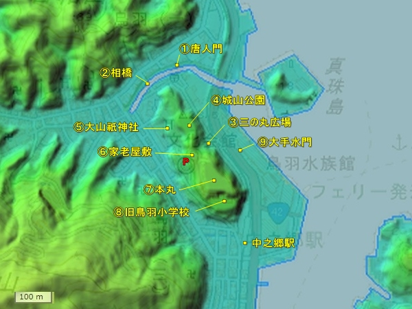鳥羽城地形図