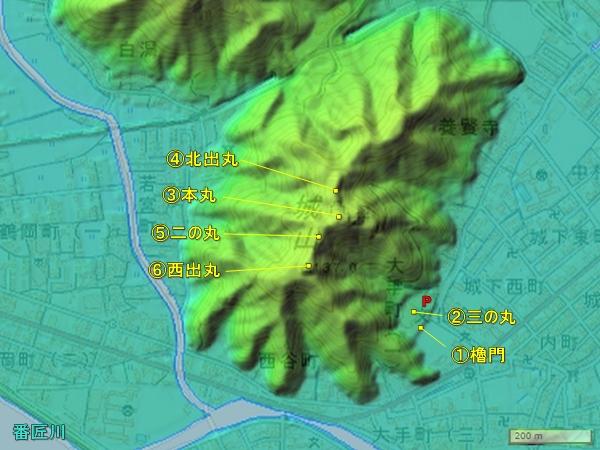 佐伯城地図