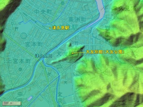 大友別館_地形図