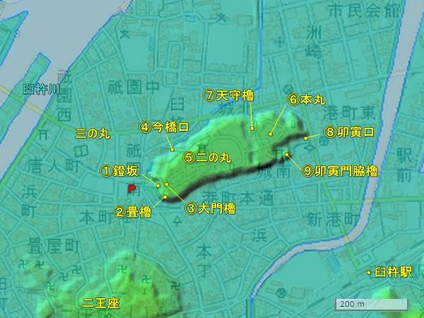 臼杵城_地形図