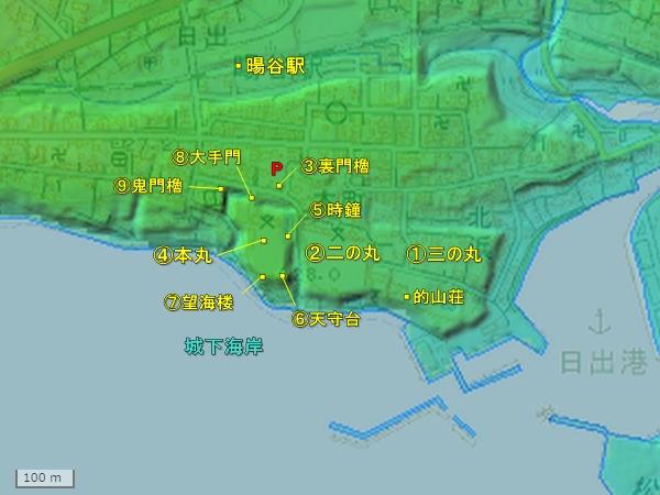 日出城_地形図