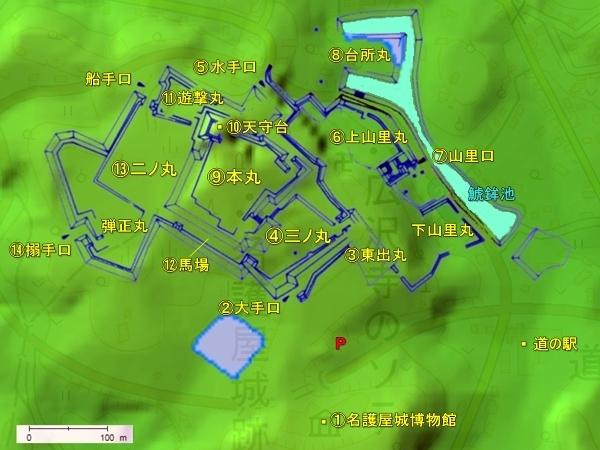 名護屋城_地形図
