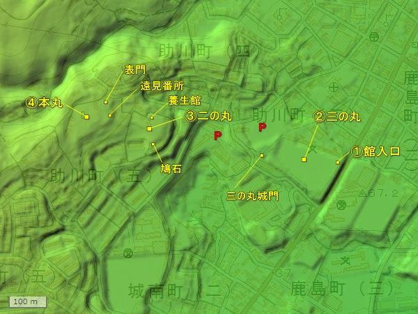 助川海防城地形図