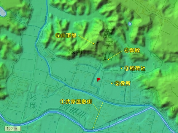 龍子山城地形図