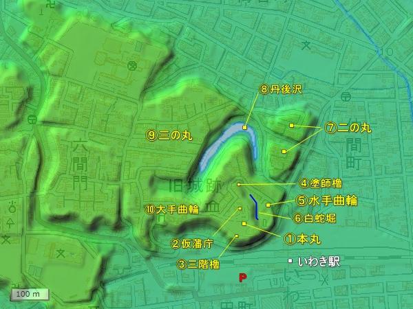 磐城平城地形図