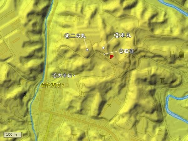 小浜城地形図