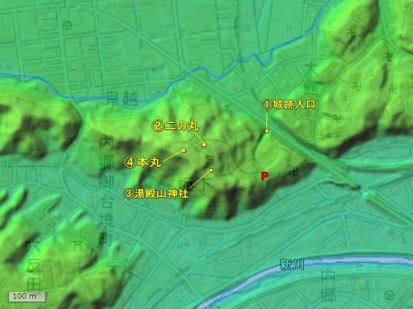 飯野平城地形図
