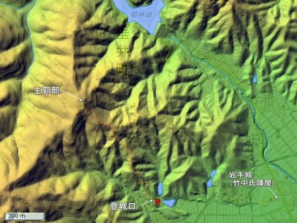 菩提山城地形図