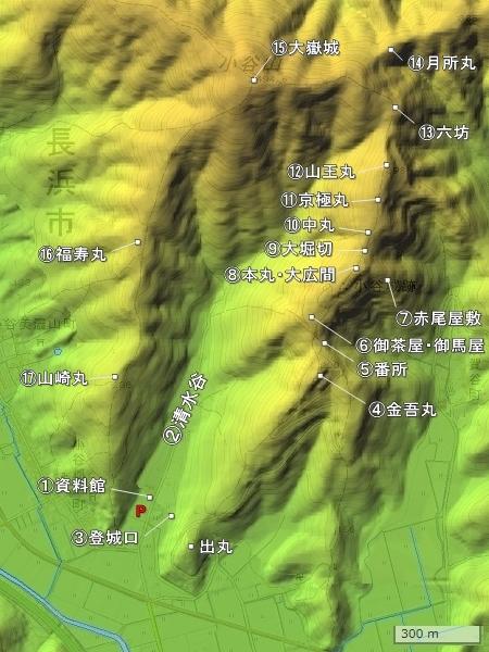 小谷城地形図