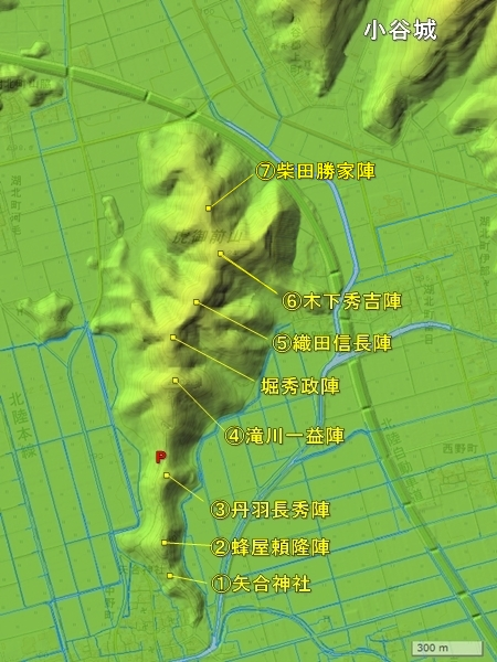 虎御前山城地形図