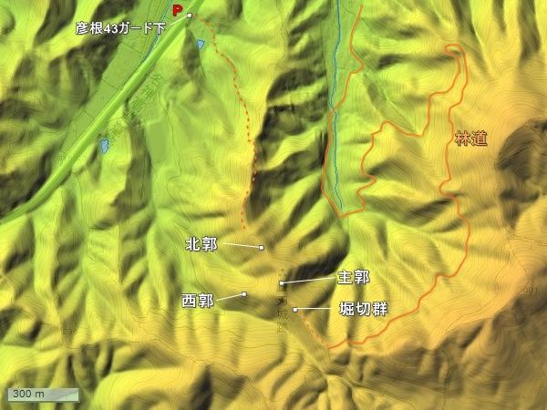 鎌刃城地形図