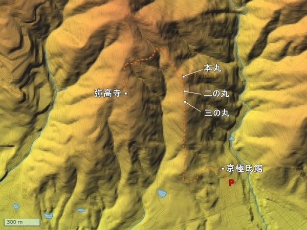 上平寺城地形図
