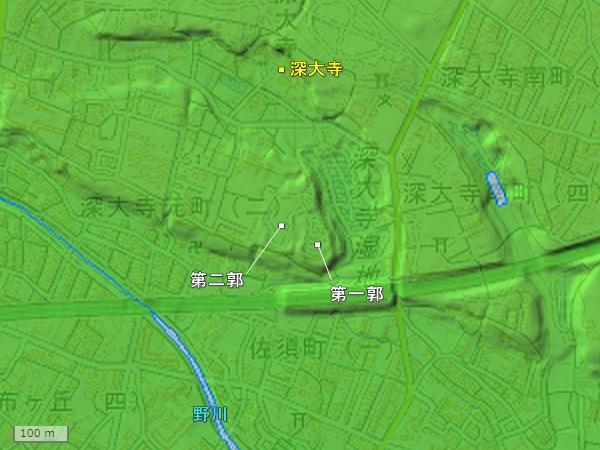 深大寺城地形図