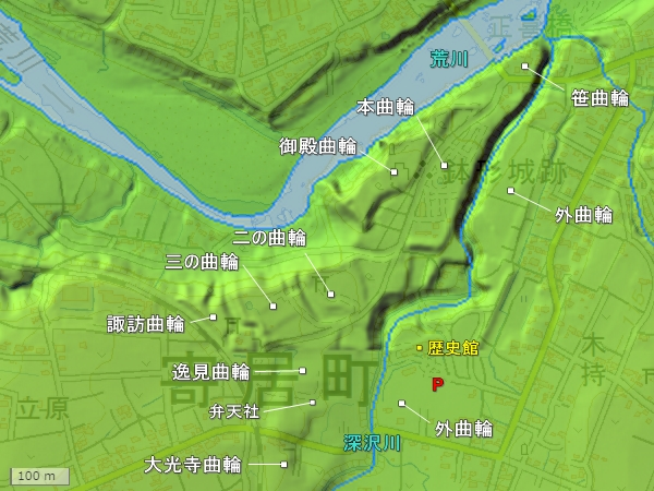 鉢形城地形図