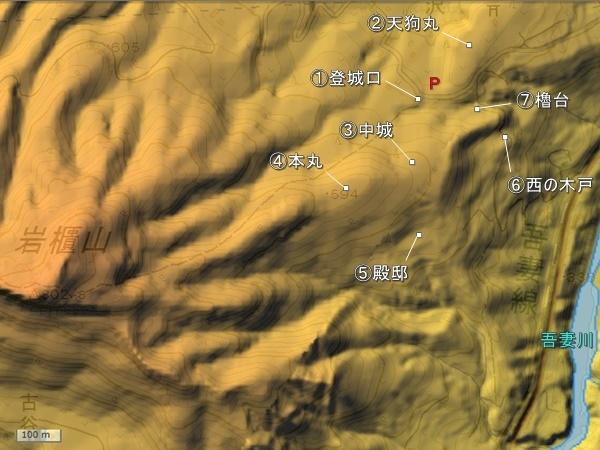 岩櫃城地形図