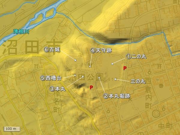 沼田城地形図