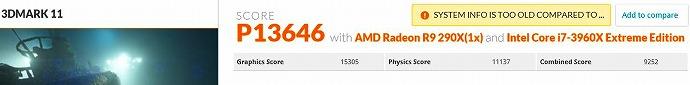 3DM11 3960X定格 290X