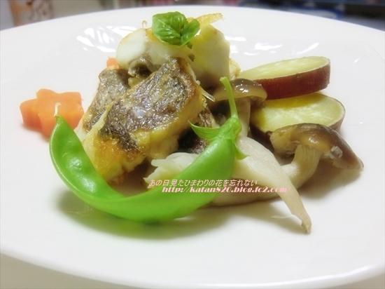 鯛のバジル風味ソテーと蒸し野菜♪
