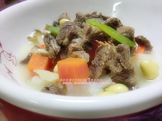 馬肉と根菜の煮込みスープ♪