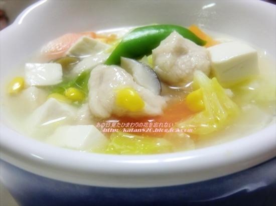 鶏ささ身と豆腐のうま煮スープ♪