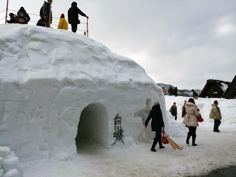 冬の白川郷の雪景色と夜のライトアップ ③
