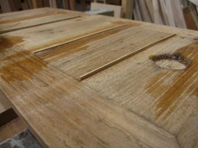 桐たんす修理、引き戸の割れ修復