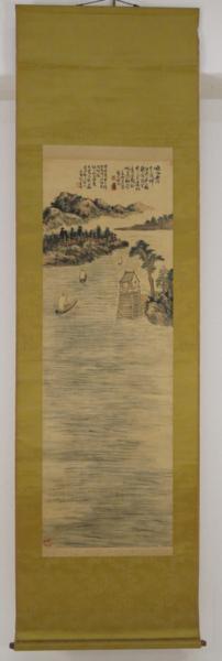 掛軸 陳半丁山水図 在銘 肉筆絹本 中国書画