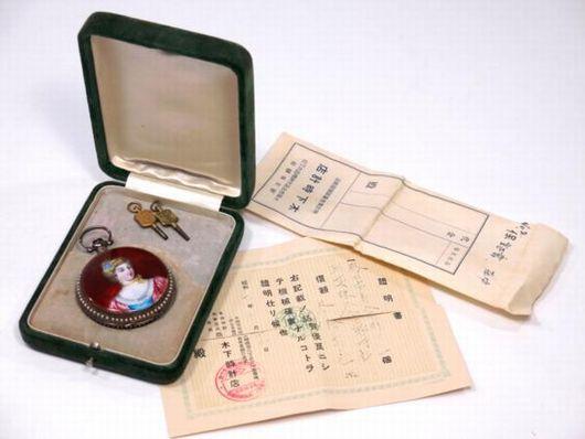 真珠巻 エナメル 七宝 懐中時計