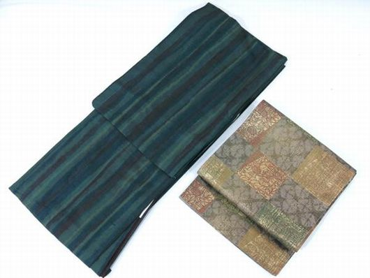 石川県無形文化財 牛首紬 帯と着物