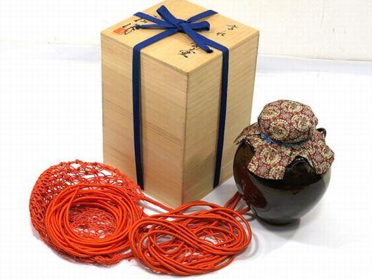茶道具 十三代 高取八仙作 飾壺