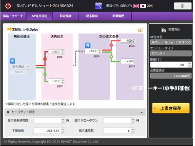 トライオートFX英ポンド円AP注文20150624