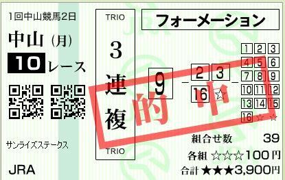 中山10R3連複