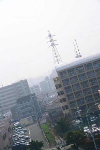PM2.5警報が出ている福岡市内
